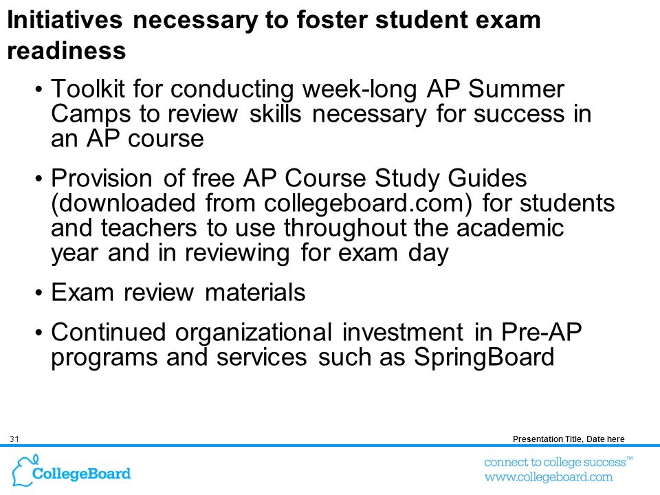 31Presentation Title, Date here Initiatives necessary to foster student exam readiness Toolkit for conducting week-long AP Summer Camps to review skills necessary for success in an AP course Provision of free AP Course Study Guides (downloaded from collegeboard.com) for students and teachers to use throughout the academic year and in reviewing for exam day Exam review materials Continued organizational investment in Pre-AP programs and services such as SpringBoard