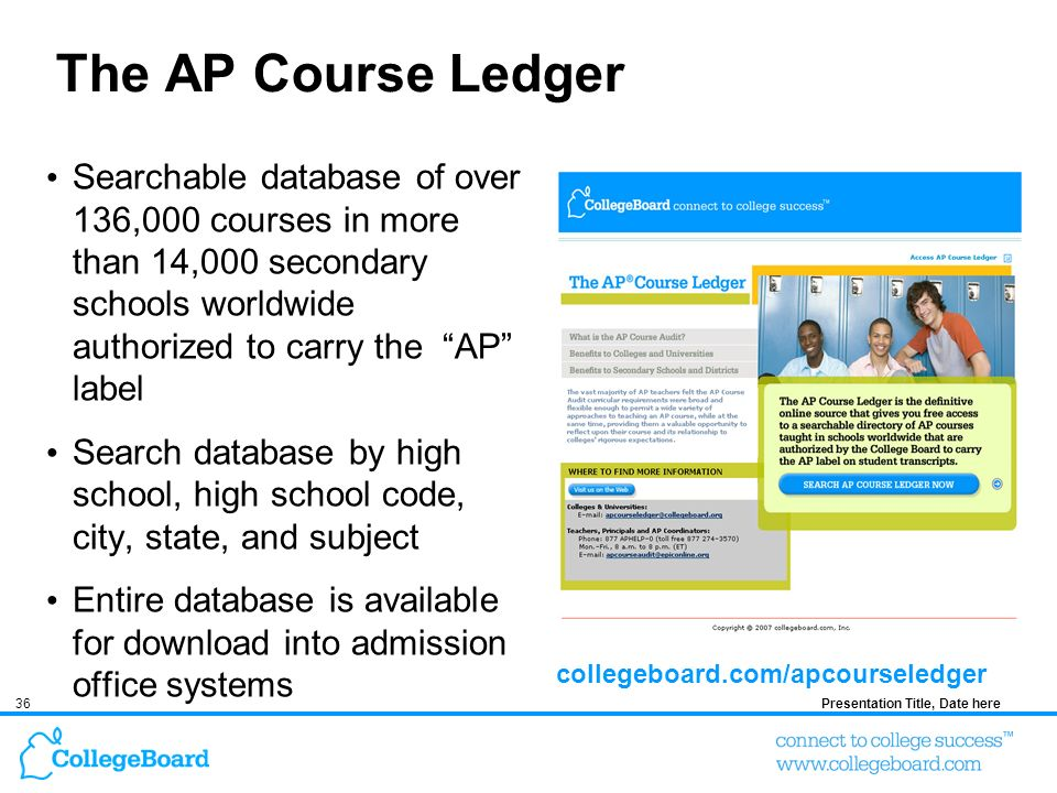 36Presentation Title, Date here The AP Course Ledger Searchable database of over 136,000 courses in more than 14,000 secondary schools worldwide authorized to carry the AP label Search database by high school, high school code, city, state, and subject Entire database is available for download into admission office systems collegeboard.com/apcourseledger
