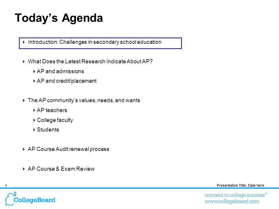 4 Todays Agenda Introduction: Challenges in secondary school education What Does the Latest Research Indicate About AP.