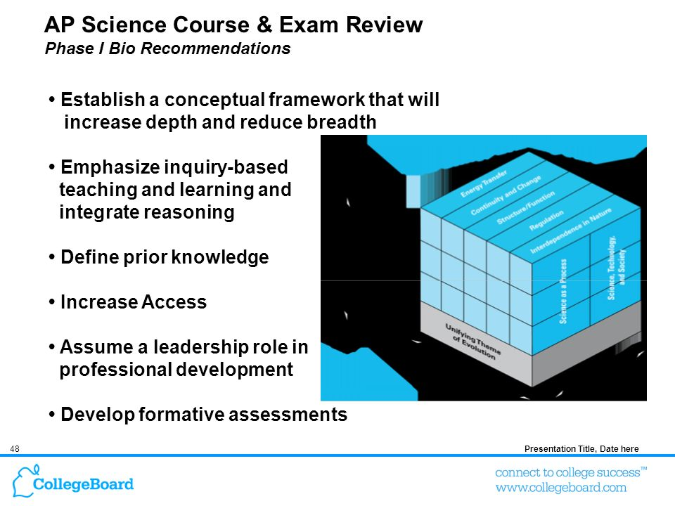 48Presentation Title, Date here AP Science Course & Exam Review Phase I Bio Recommendations Establish a conceptual framework that will increase depth and reduce breadth Emphasize inquiry-based teaching and learning and integrate reasoning Define prior knowledge Increase Access Assume a leadership role in professional development Develop formative assessments