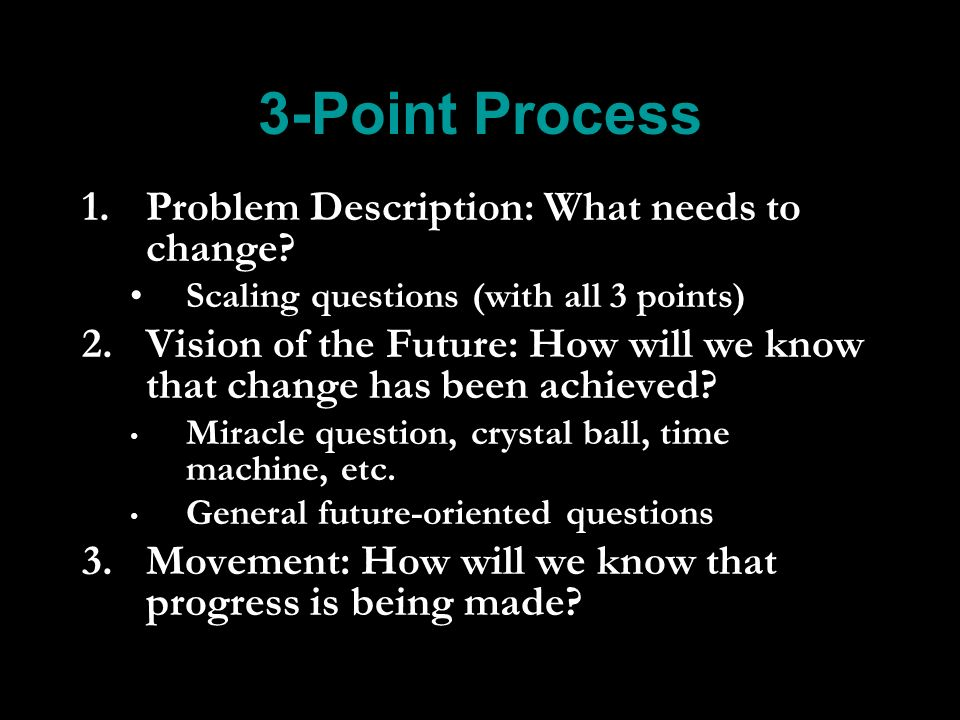 3-Point Process 1. 1.Problem Description: What needs to change.