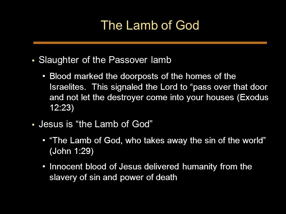 The Lamb of God Slaughter of the Passover lamb Blood marked the doorposts of the homes of the Israelites.