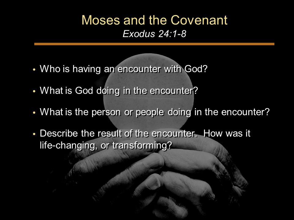 Moses and the Covenant Exodus 24:1-8 Who is having an encounter with God.