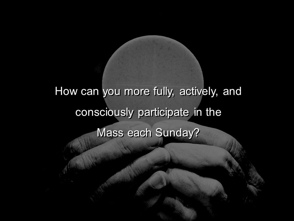 How can you more fully, actively, and consciously participate in the Mass each Sunday