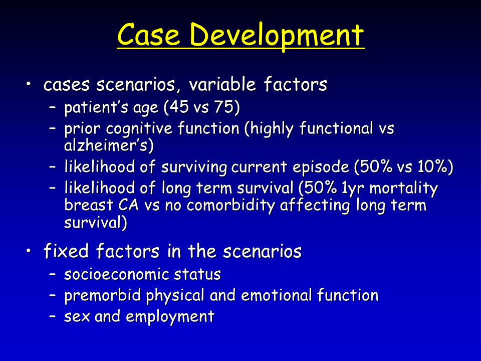 Case Development cases scenarios, variable factorscases scenarios, variable factors –patients age (45 vs 75) –prior cognitive function (highly functional vs alzheimers) –likelihood of surviving current episode (50% vs 10%) –likelihood of long term survival (50% 1yr mortality breast CA vs no comorbidity affecting long term survival) fixed factors in the scenariosfixed factors in the scenarios –socioeconomic status –premorbid physical and emotional function –sex and employment