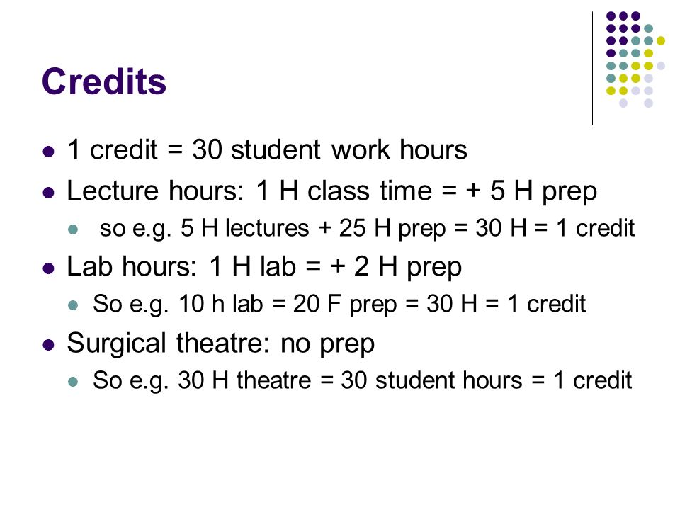 Credits 1 credit = 30 student work hours Lecture hours: 1 H class time = + 5 H prep so e.g.