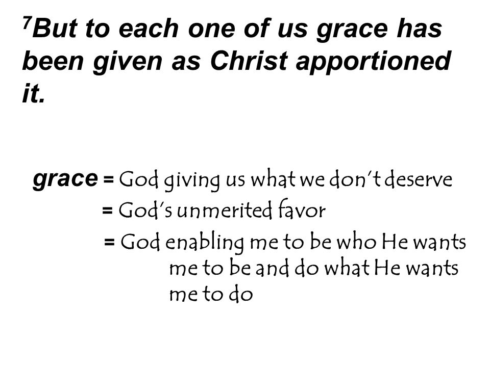7 But to each one of us grace has been given as Christ apportioned it.