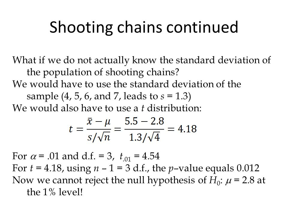 What if we do not actually know the standard deviation of the population of shooting chains.