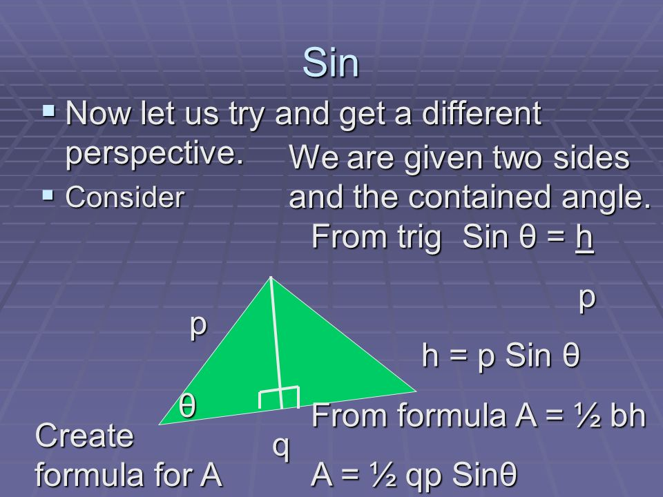 Sin Now let us try and get a different perspective.