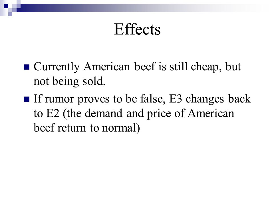 Effects Currently American beef is still cheap, but not being sold.