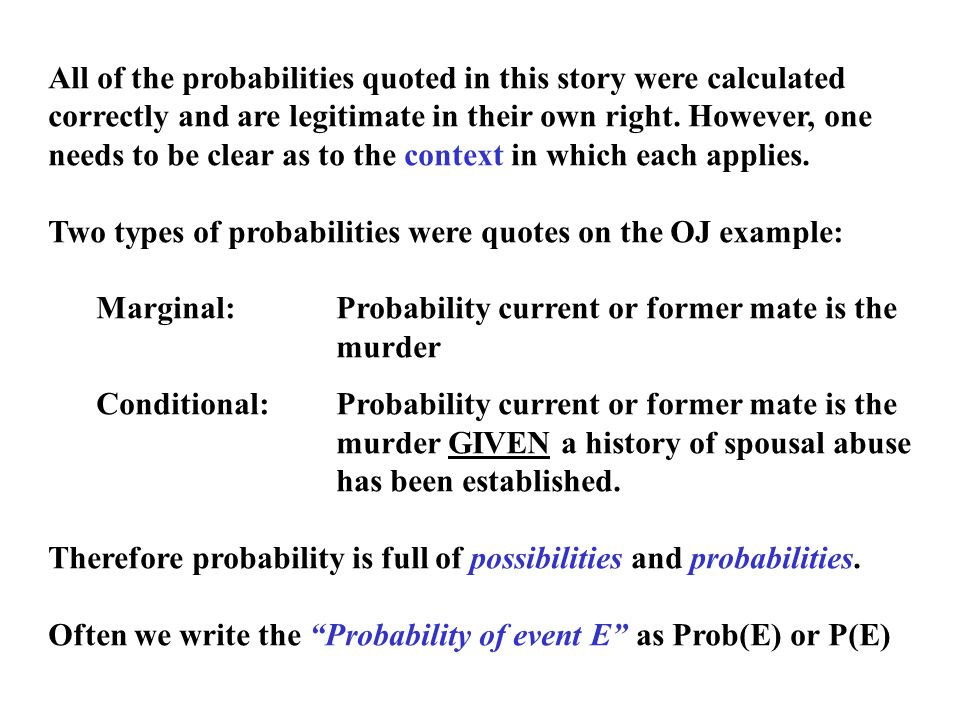 All of the probabilities quoted in this story were calculated correctly and are legitimate in their own right.