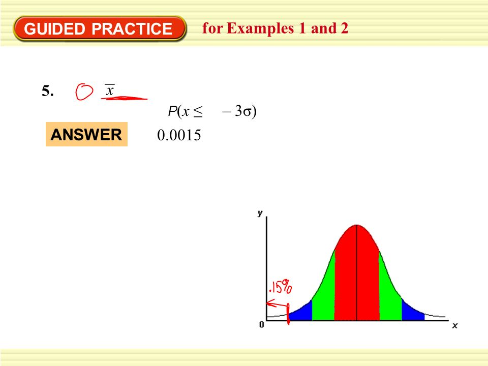 GUIDED PRACTICE for Examples 1 and 2 5.5. P (x – 3σ) x 0.0015 ANSWER