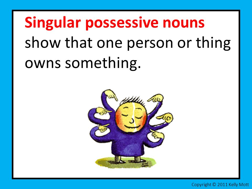 Singular possessive nouns show that one person or thing owns something. Copyright © 2011 Kelly Mott