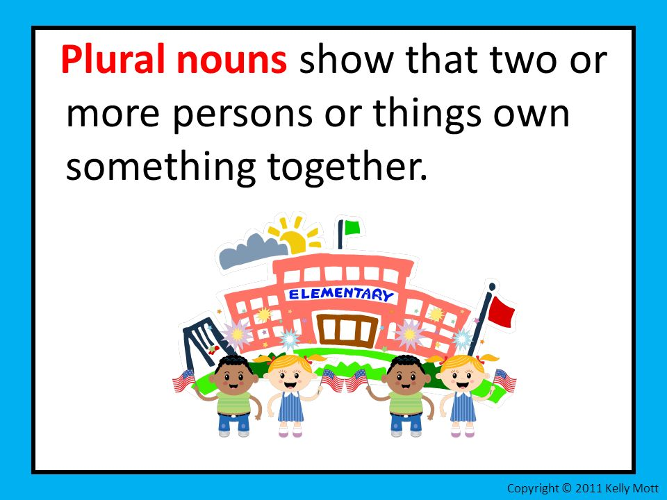 Plural nouns show that two or more persons or things own something together.