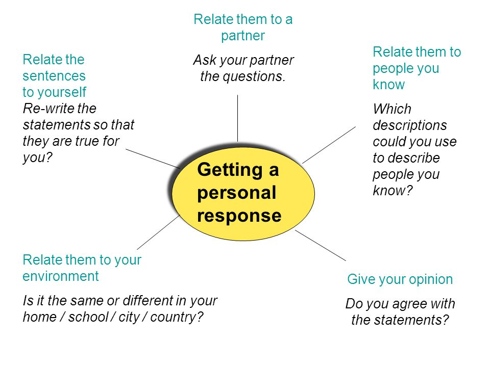 Getting a personal response Relate the sentences to yourself Re-write the statements so that they are true for you.