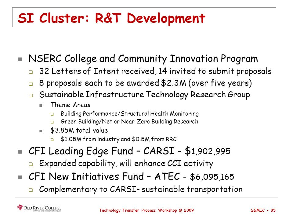 SI Cluster: R&T Development NSERC College and Community Innovation Program 32 Letters of Intent received, 14 invited to submit proposals 8 proposals each to be awarded $2.3M (over five years) Sustainable Infrastructure Technology Research Group Theme Areas Building Performance/Structural Health Monitoring Green Building/Net or Near-Zero Building Research $3.85M total value $1.05M from industry and $0.5M from RRC CFI Leading Edge Fund – CARSI - $ 1,902,995 Expanded capability, will enhance CCI activity CFI New Initiatives Fund – ATEC - $6,095,165 Complementary to CARSI- sustainable transportation Technology Transfer Process Workshop © 2009 SSMIC - 35