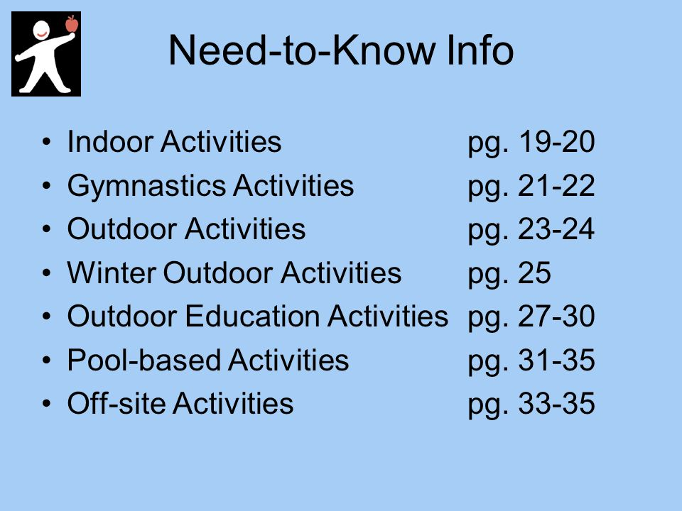 Need-to-Know Info Indoor Activities pg Gymnastics Activities pg.