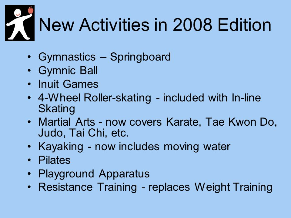 New Activities in 2008 Edition Gymnastics – Springboard Gymnic Ball Inuit Games 4-Wheel Roller-skating - included with In-line Skating Martial Arts - now covers Karate, Tae Kwon Do, Judo, Tai Chi, etc.