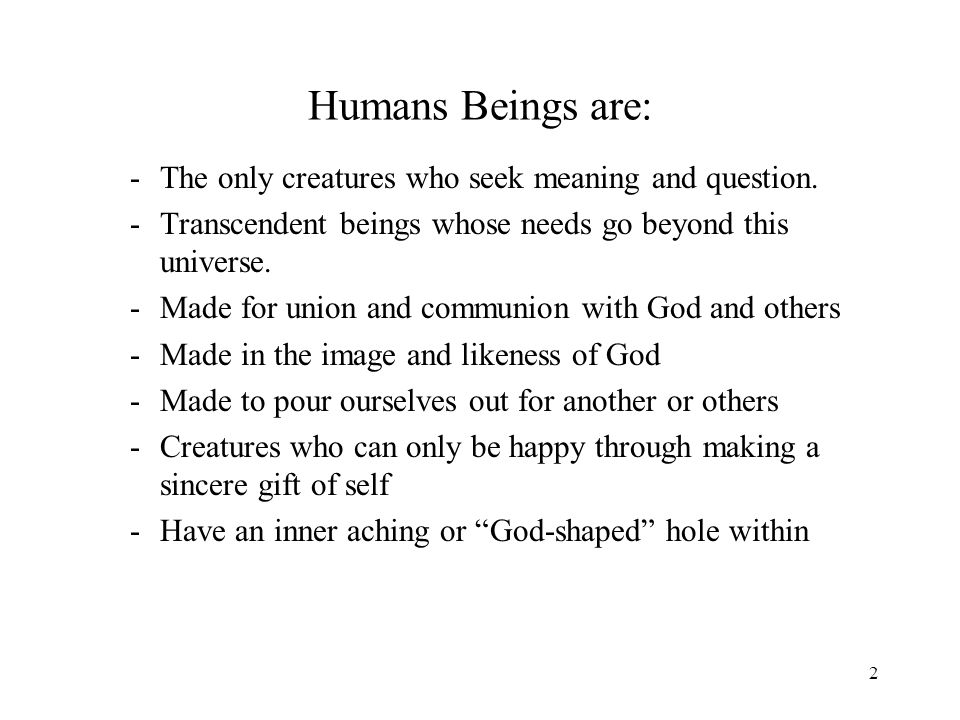 2 Humans Beings are: -The only creatures who seek meaning and question.