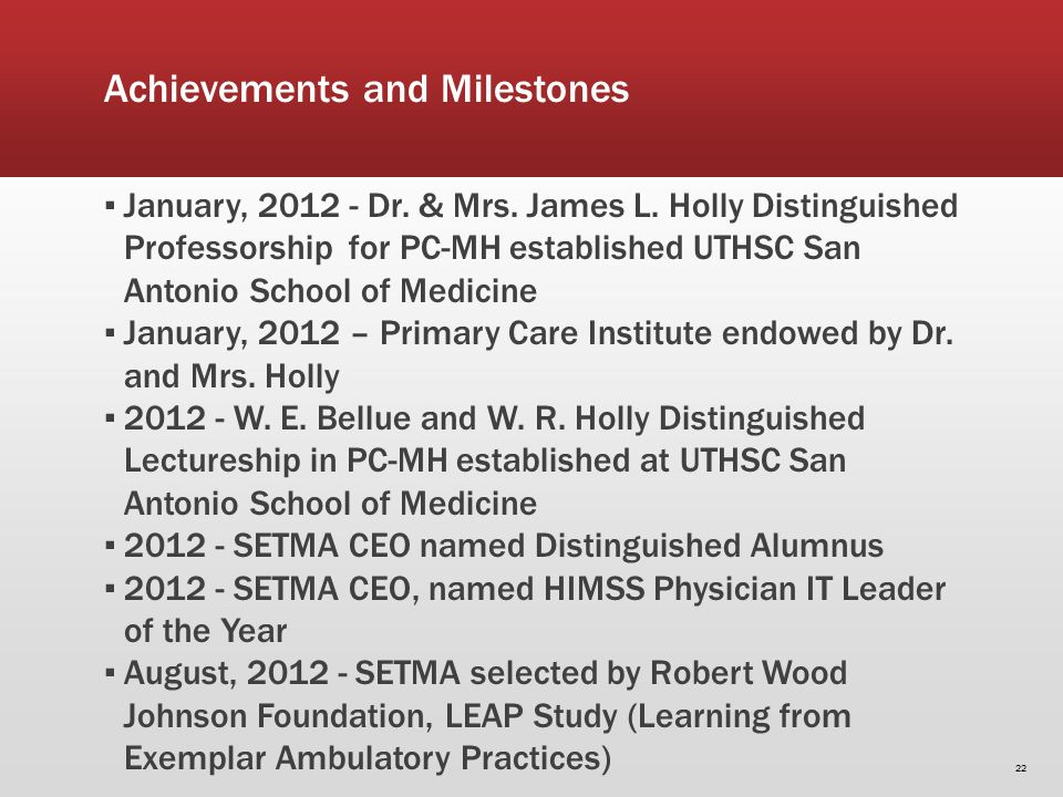 Achievements and Milestones January, 2012 - Dr. & Mrs.