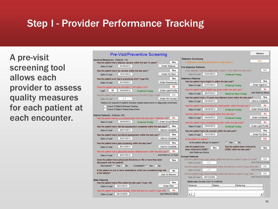 33 A pre-visit screening tool allows each provider to assess quality measures for each patient at each encounter.