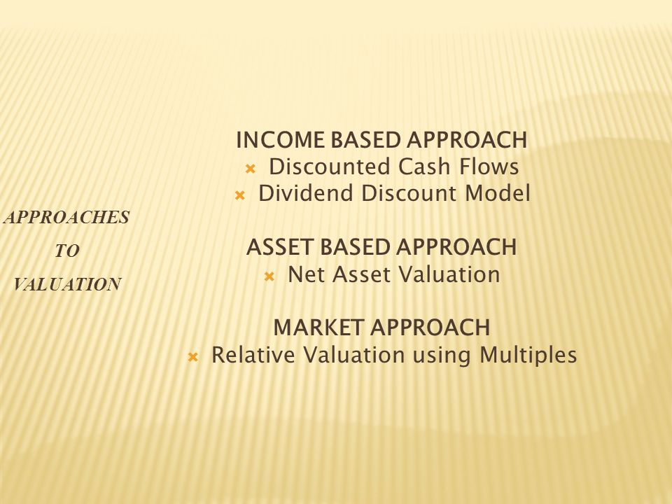 INCOME BASED APPROACH Discounted Cash Flows Dividend Discount Model ASSET BASED APPROACH Net Asset Valuation MARKET APPROACH Relative Valuation using Multiples APPROACHES TO VALUATION