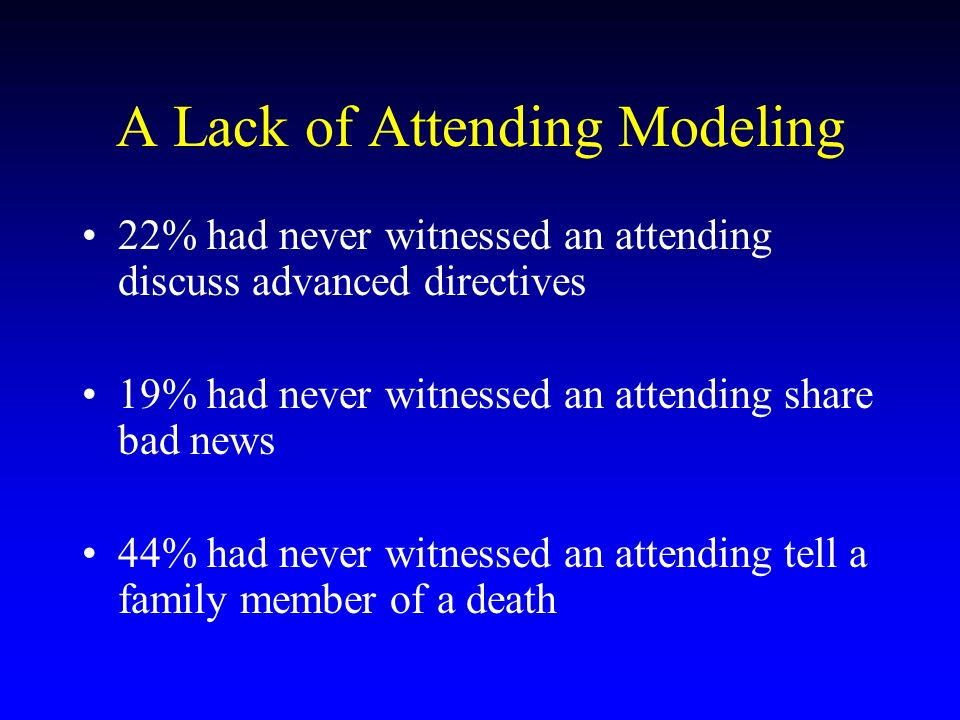 22% had never witnessed an attending discuss advanced directives 19% had never witnessed an attending share bad news 44% had never witnessed an attending tell a family member of a death A Lack of Attending Modeling