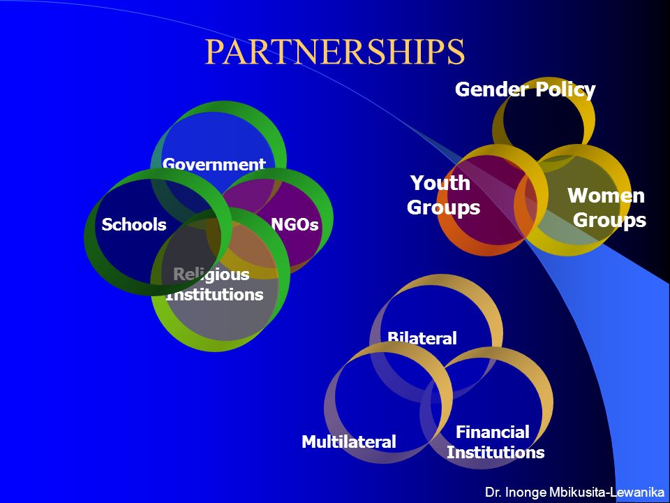 PARTNERSHIPS Government NGOs Religious Institutions Schools Bilateral Financial Institutions Multilateral Gender Policy Women Groups Youth Groups Dr.