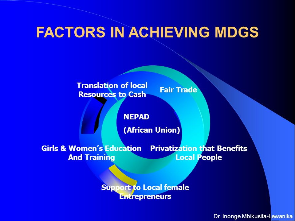 Fair Trade Privatization that Benefits Local People Support to Local female Entrepreneurs Girls & Womens Education And Training Translation of local Resources to Cash FACTORS IN ACHIEVING MDGS NEPAD (African Union) Dr.