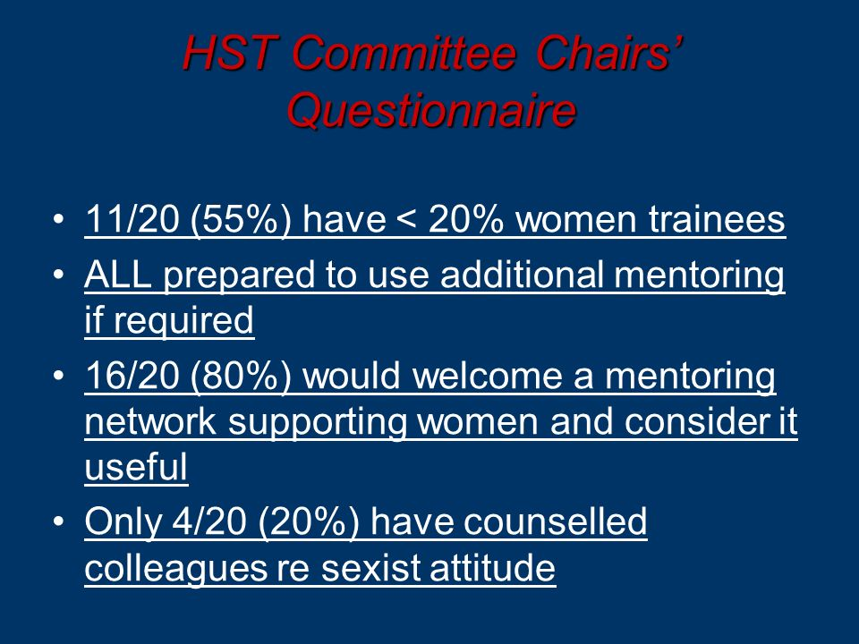 HST Committee Chairs Questionnaire 11/20 (55%) have < 20% women trainees ALL prepared to use additional mentoring if required 16/20 (80%) would welcome a mentoring network supporting women and consider it useful Only 4/20 (20%) have counselled colleagues re sexist attitude