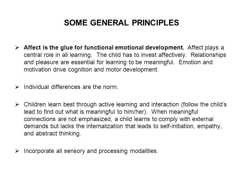SOME GENERAL PRINCIPLES Affect is the glue for functional emotional development.