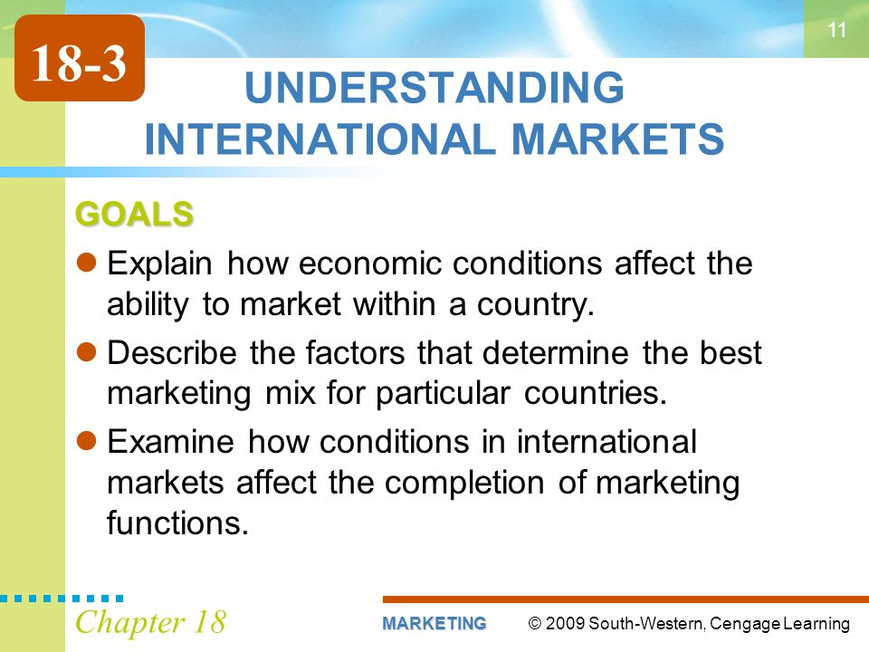 © 2009 South-Western, Cengage LearningMARKETING Chapter UNDERSTANDING INTERNATIONAL MARKETS GOALS Explain how economic conditions affect the ability to market within a country.