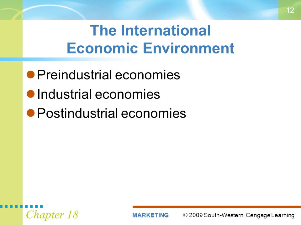 © 2009 South-Western, Cengage LearningMARKETING Chapter The International Economic Environment Preindustrial economies Industrial economies Postindustrial economies