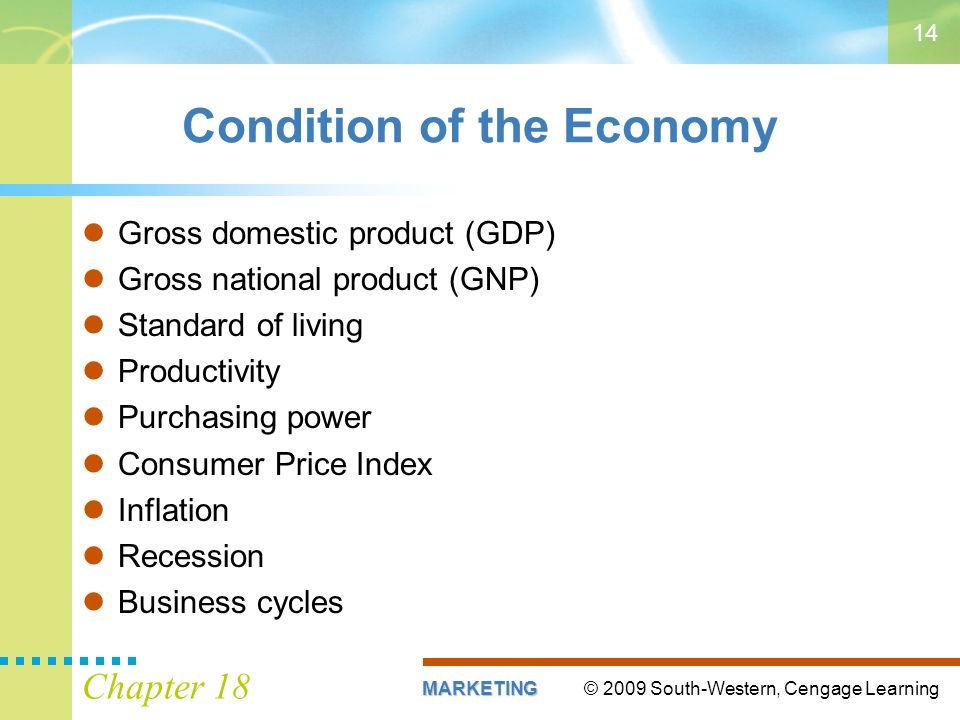 © 2009 South-Western, Cengage LearningMARKETING Chapter Condition of the Economy Gross domestic product (GDP) Gross national product (GNP) Standard of living Productivity Purchasing power Consumer Price Index Inflation Recession Business cycles