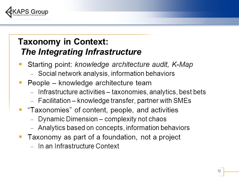 12 Taxonomy in Context: The Integrating Infrastructure Starting point: knowledge architecture audit, K-Map – Social network analysis, information behaviors People – knowledge architecture team – Infrastructure activities – taxonomies, analytics, best bets – Facilitation – knowledge transfer, partner with SMEs Taxonomies of content, people, and activities – Dynamic Dimension – complexity not chaos – Analytics based on concepts, information behaviors Taxonomy as part of a foundation, not a project – In an Infrastructure Context