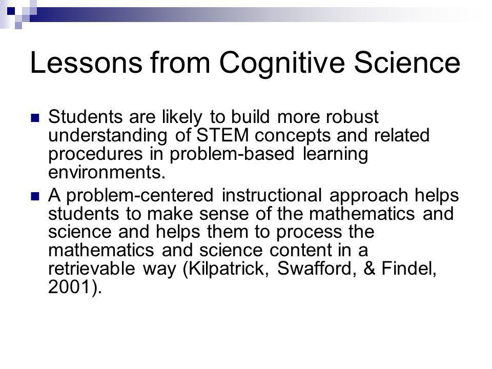 Lessons from Cognitive Science Students are likely to build more robust understanding of STEM concepts and related procedures in problem-based learning environments.
