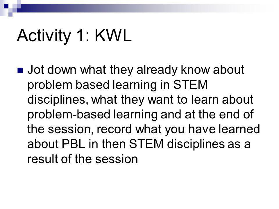 Activity 1: KWL Jot down what they already know about problem based learning in STEM disciplines, what they want to learn about problem-based learning and at the end of the session, record what you have learned about PBL in then STEM disciplines as a result of the session