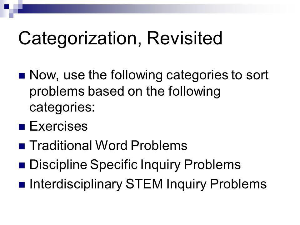 Categorization, Revisited Now, use the following categories to sort problems based on the following categories: Exercises Traditional Word Problems Discipline Specific Inquiry Problems Interdisciplinary STEM Inquiry Problems