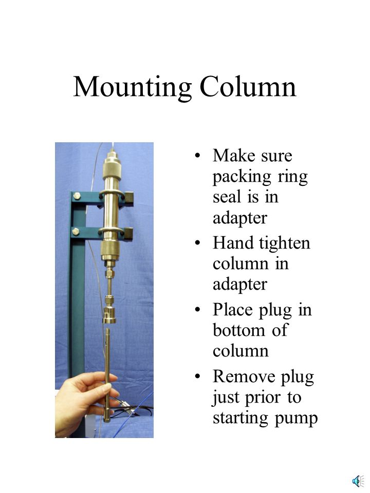 Mounting Column Make sure packing ring seal is in adapter Hand tighten column in adapter Place plug in bottom of column Remove plug just prior to starting pump