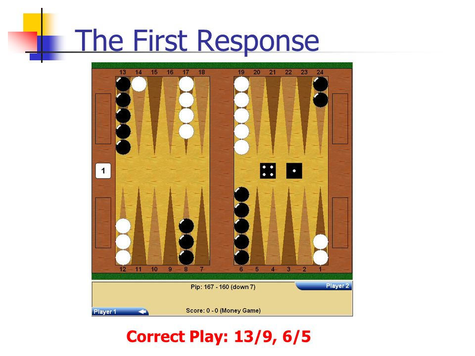The First Response Correct Play: 13/9, 6/5