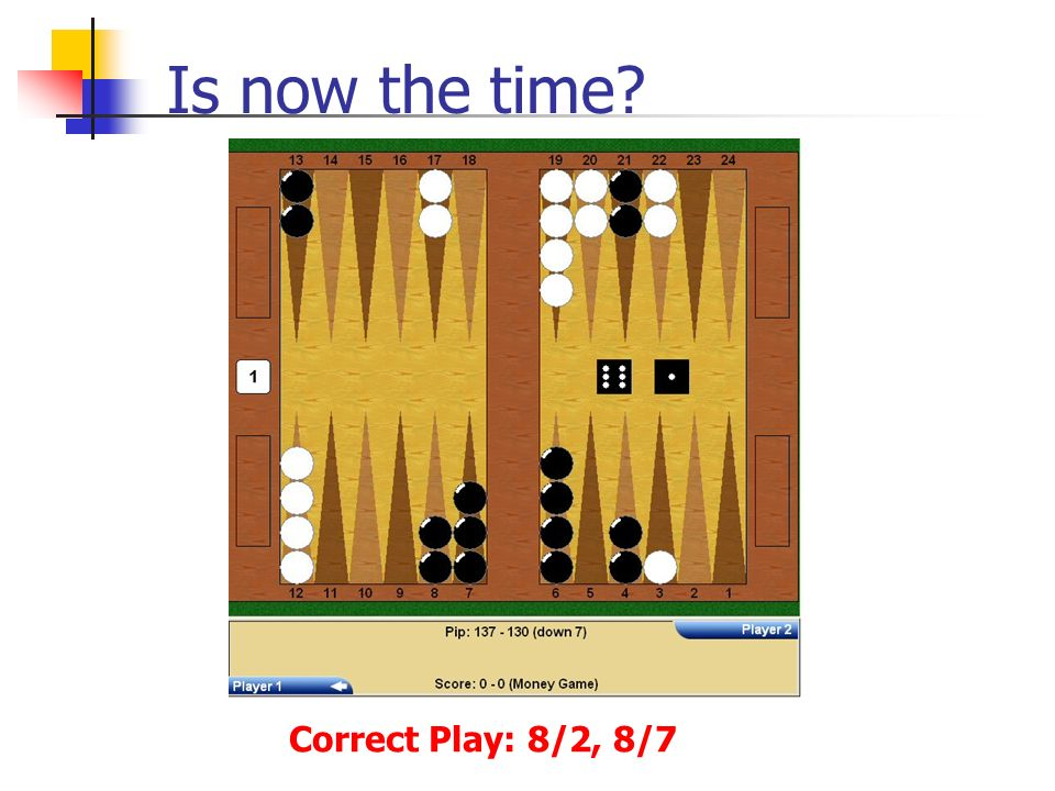 Is now the time Correct Play: 8/2, 8/7