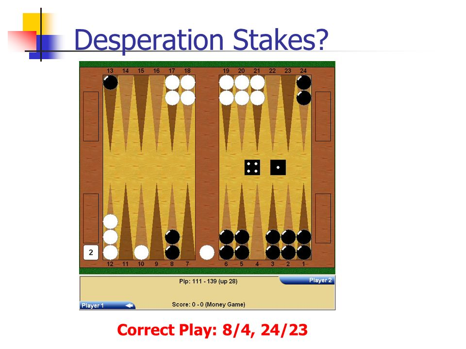Desperation Stakes Correct Play: 8/4, 24/23