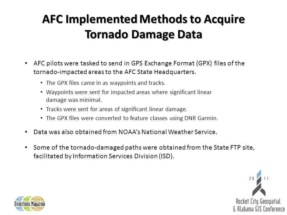 AFC pilots were tasked to send in GPS Exchange Format (GPX) files of the tornado-impacted areas to the AFC State Headquarters.