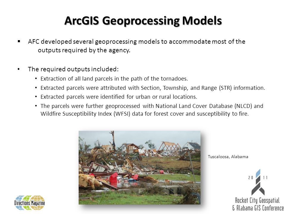 ArcGIS Geoprocessing Models AFC developed several geoprocessing models to accommodate most of the outputs required by the agency.