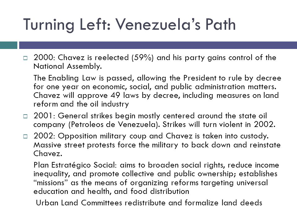 Turning Left: Venezuelas Path 2000: Chavez is reelected (59%) and his party gains control of the National Assembly.