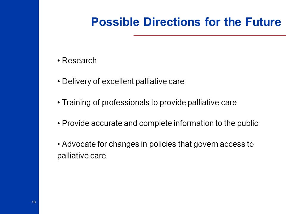 18 Possible Directions for the Future Research Delivery of excellent palliative care Training of professionals to provide palliative care Provide accurate and complete information to the public Advocate for changes in policies that govern access to palliative care