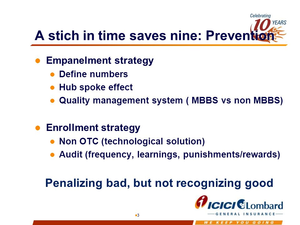 3 A stich in time saves nine: Prevention Empanelment strategy Define numbers Hub spoke effect Quality management system ( MBBS vs non MBBS) Enrollment strategy Non OTC (technological solution) Audit (frequency, learnings, punishments/rewards) Penalizing bad, but not recognizing good