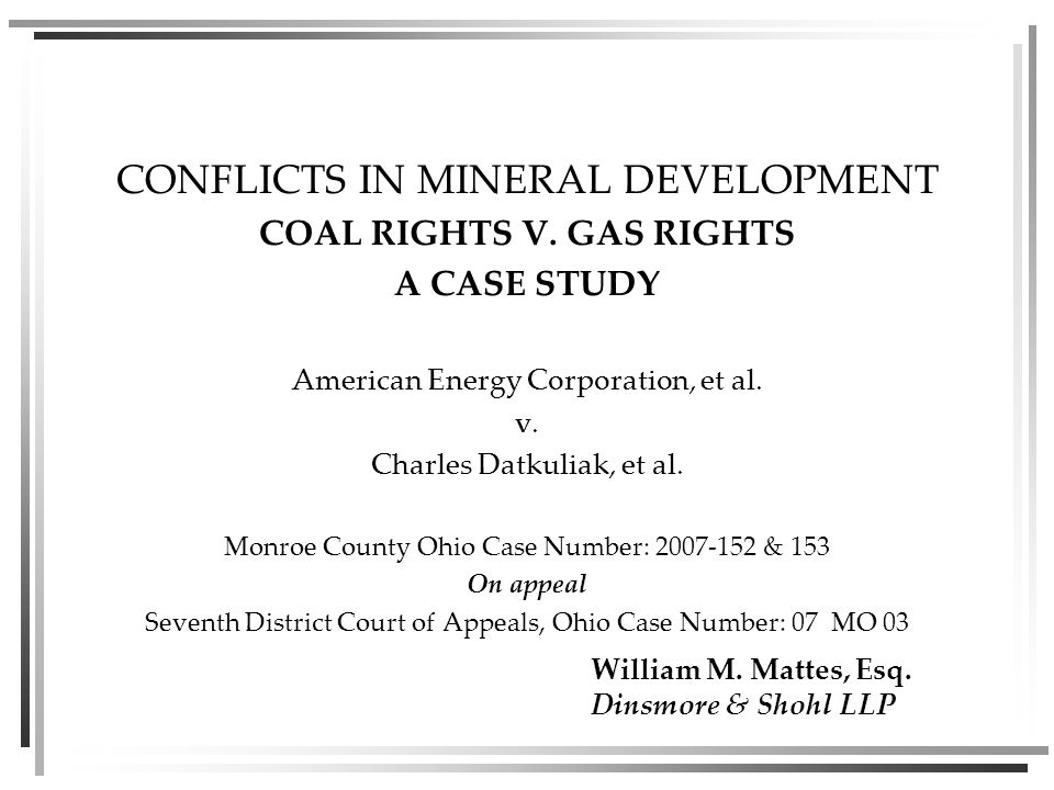 CONFLICTS IN MINERAL DEVELOPMENT COAL RIGHTS V.