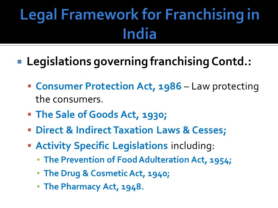 Legislations governing franchising Contd.: Consumer Protection Act, 1986 – Law protecting the consumers.