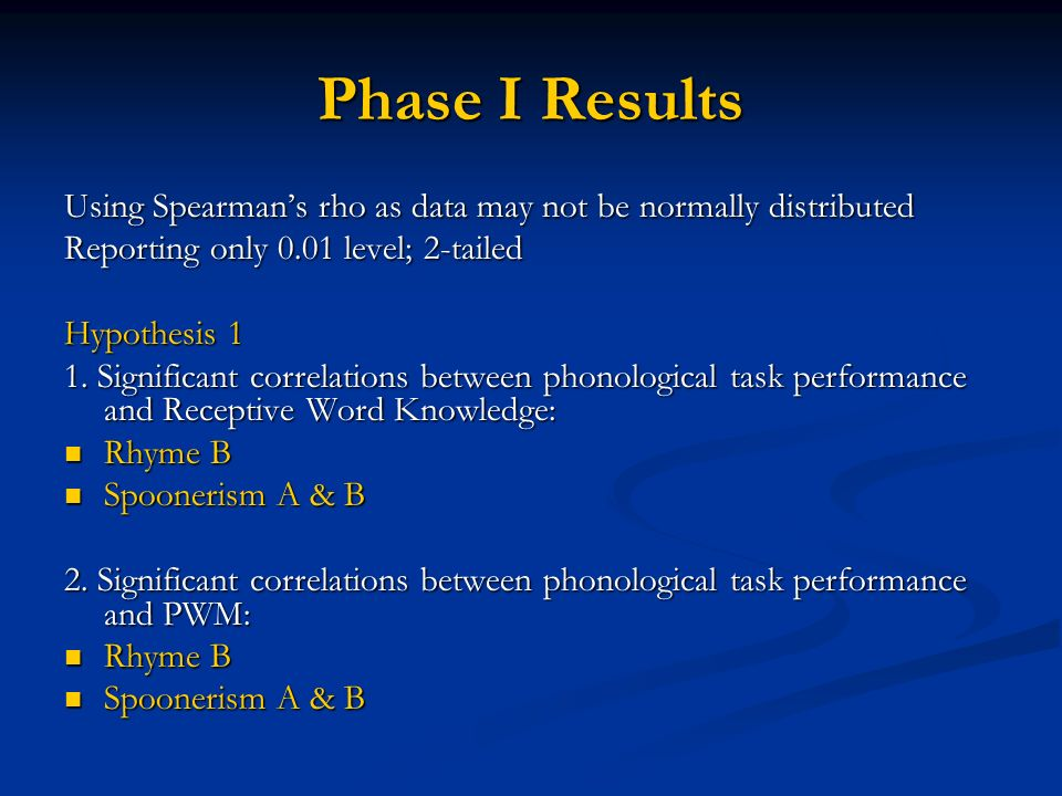 Phase I Results Using Spearmans rho as data may not be normally distributed Reporting only 0.01 level; 2-tailed Hypothesis 1 1.
